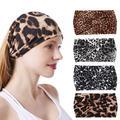 Boho Headbands Leopard Print Sport Headband Knot Yoga Hair Bands 4Pack Bandeau Stretchy Cotton Turban Running Sweatband Head Band for Women and Girls