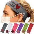 Besufy Elastic Headband Ears Protection Running Hairband Button Headwear