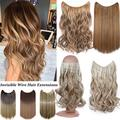 """Benehair Invisible Hair Extensions Secret Hidden Wire in One Piece Real Long Thick Synthetic Hair 100% Natural Straight Curly Headband Extensions for Women 20"""" medium brown to sandy blonde"""