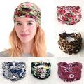 Boho Women Wide Headbands 5 Pack Knot Flower Hair Bands Fashion Printing Bandeau Travel Athletic Head Wrap Stretchy Cotton Headband Polyester Sport Hair Accessories for Women and girls