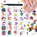 108 Pcs Dried Flowers for Resin Nail Art 62 Colors 3D Dry Flowers for Nails Mini Dried Flowers for Nail Art Pressed Real Natural Flower Nail Art Design with Tweezer (2 Boxes)