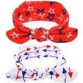 BinaryABC 4th of July Baby Headband,Flower America Flag Headband,independence Day Headwear Hairband,2Pcs