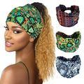 Women Boho Headband Boho Bandeau Turban Wide Curly Elastic Sports Bohemian Headwear Yoga Hair Band Workout Headwrap (a)