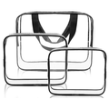 AUPERTO 3Pcs Cosmetic Makeup Bags Set Waterproof Clear PVC with Zipper Handle Portable Travel Luggage Pouch