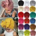 Toddler Baby Boy Girl Turban Bow Head Wrap Beanie Hat Cap Headband Hair Band