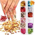 12 Colors Maple Leaf Glitter Nail Sequins Fall Nail Art Stickers 3D Laser Maple Leaves Nail Design Acrylic Nails Supply Autumn Leaves Glitters Nails Flakes Holographic Nail Sparkle Glitters