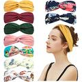 9 Pack Knotted Boho Headbands for Women Fashion Cute Knot Headband Headwraps for Girls Spa Yoga Stretchy Turban Headbands Cute Hair Band Vintage Hair Accessories (Boho Style + Solid Color, Style