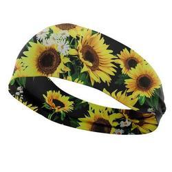 PWFE 3D Printed Sunflower Headband Hair Accessories Elastic Turban Head Wrap For Sports Running Yoga Wrap Face Wash Headwear