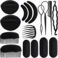 16 Pieces Hair Sponge Bump Up Volume Inserts Tool Simple Hair Braid Tools Hair Bases Hair Bump Up Combs Clips Hair Styling Tools Sponge Hair Accessories for Girls Women Hair Styling