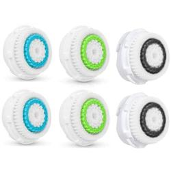 6Pcs Facial Cleansing Brush Haead Replacement, Compatible Facial Cleansing Brush Heads for Clogged and Enlarged Pores, Deep Cleansing, Universal Facial Brush Heads