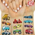 xo, Fetti Cars and Trucks Temporary Tattoos for Kids - 42 Glitter style Birthday Party Supplies, Race Car Party Favors + Construction Decor