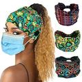 Women Button Headband Boho Elastic Sports Headwear Yoga Ear Saver Hair Band Workout Headwrap (25)