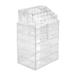 DRASHOME Cosmetic Storage Rack Home Salon Makeup Display Shelf 7 Drawers Plastic Storage Organizer, Transparent