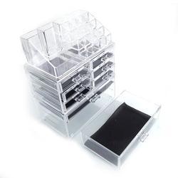 "9.5''x6''x11.6"" Bathroom Organizer Cosmetic Storage Box, SEGMART Cosmetic Bathroom Organizer and Storage Rack with 2 Tier Drawer, 6 Small Drawers, 16 Grid for Storage Cosmetics, Jewelry, Brush, S5467"