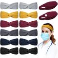 6 Pieces Knotted Headbands with Button for Nurses 6 Pieces Knotted Headbands Without Button Stretchy Boho Twisted Hair Bands Headwraps Hair Accessories for Women, 2 Styles