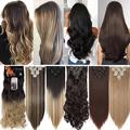 Benehair Clip In Hair Extensions Full Head Long Thick 8 Pieces Hair 18 Clips Curly Wavy Straight Hairpieces 100% Real Natural as Human Best Hair Set 24'' Curly Dark Grey