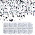 1000 Pieces Nail Crystals Nail Jewels Champagne Rhinestones Round Beads Flatback Glass Charms Gems Stones with 6 Sizes Diamonds for Nails Decoration Clothes Shoes Phone Case