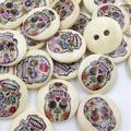 Lot de 100 boutons en bois crâne bébé/enfants, 15mm, couture artisanat, Lots WB273