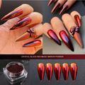 Poudre à ongles en cristal rouge et noir, Pigment chromé, effet magique scintillant, pour vernis à
