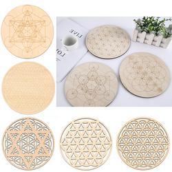 Symbole naturel fleur de vie Chakra, 7 sortes de cercles à bords ronds en bois, caboteur sculpté