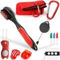 sprookber Golf Accessories Set - PRO Retractable Golf Club Brush, Microfiber Waffle Pattern Golf Towel, Golf Divot Repair Tool, Golf Ball Marker - Golf Club Cleaning Kit, Golf Accessories for Men