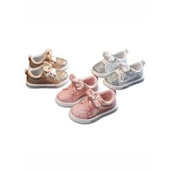 Cute Girls Casual Shoes Sneakers Toddler Baby Girls Bow Sequin Crib Trend Casual Shoes Kids Children Anti Slip Pink Dress Shoes