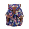 Vintage Women's Canvas Travel Satchel Shoulder Bag Backpack Rucksack-FLORAL BLUE