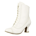 """Victorian 2.5"""" Heel Women's Mid Calf Lace Up Costume Boot (White)"""