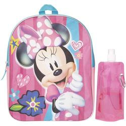 Minnie Mouse Backpack Combo Set - Minnie Mouse Girls 3 Piece Backpack Set - Backpack, Water Bottle and Carabina (Minnie Disney)