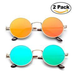 2 Pairs Newbee Fashion Steam Punk Metal Classic Round John Lennon Inspired Flash Mirrored Flat Lenses Hippy 60's Sunglasses Retro