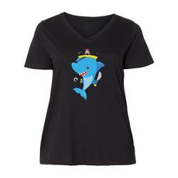 Inktastic Pirate Shark, Shark Wearing Pirate Hat, Blue Shark Adult Women's Plus Size V-Neck Female
