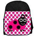 "Pink Ladybug Polka Dots Pattern 13"" x 10"" Black Preschool Toddler Children's Backpack"