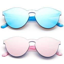 Newbee Fashion - One Piece Oversized Rimless Sunglasses Transparent Clear Candy Color Cateye Sunglasses-2 Pack