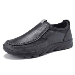 Microfiber Leather Loafers Casual Shoes Anti-skid Round Toe Slip on Shoes for Men