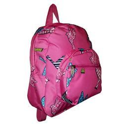 11-inch Mini Backpack Purse, Zipper Front Pockets Teen Child (Pink Bird Print)