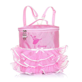 Kids Girls Ballet Dancing Backpack Ballet Girls Ballerina Embroidered Pink Lovely Backpack Tiered Ruffled Mesh Bag Backpack with Plastic Clasp