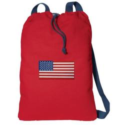 Canvas American Flag Drawstring Bag DELUXE USA Flag Backpack Cinch Pack for Him or Her