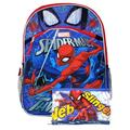 """Boys Spider-Man 16"""" Backpack Web Sling w/ 3-Ring Pencil Zippered Pouch"""