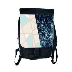 Marble Geometric Colorblock Large School Backpack