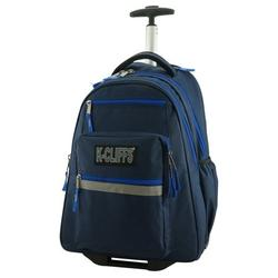 Rolling Backpack Quality School Backpack with Wheels Deluxe Trolley Book Bag Wheeled Daypack Multiple Pockets Bookbag With Safety Reflective Stripe Navy Blue