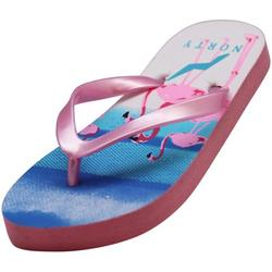 Norty Girl's Flip Flops for Beach, Pool, Everyday Sandal Shoe Runs One Size Small 41402-1MUSLittleKid Pink Flamingo