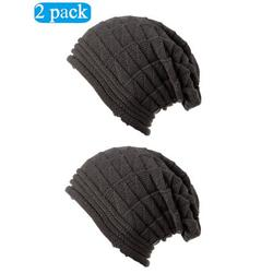 Fashion Autumn Winter Girl Beanie Hat Women Slouch Winter Knit Hip-hop Cap Beanie Baggy Hat Ski Crochet Oversized Chunky Stretchy Slouchy Beanie Hat 2 Pack