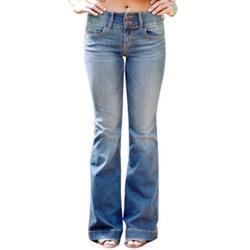 Vintage Ladies Denim Jean Women Juniors 70s Trendy Slim Fit High Waist Flared Bell Bottom Denim Jeans Pants Ladies Wide Leg Denim Pants