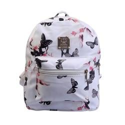 Lady Girls? Backpack Floral Printing Satchel PU Leather School Travel Daypack Bag Waterproof Knapsack
