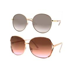 Time and Tru Women's Metal Sunglasses 2-Pack Bundle: Round Sunglasses and Square Sunglasses