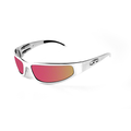 ICICLES Baby Bagger Orange Mirror Lens Sunglasses with Silver Flat Frame