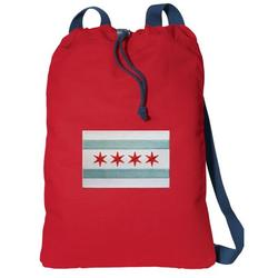 Canvas Chicago Drawstring Bag DELUXE Chicago Flag Backpack Cinch Pack for Him or Her