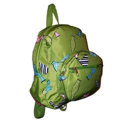 11-inch Mini Backpack Purse, Zipper Front Pockets Teen Child (Green Bird Print)