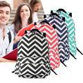 4 Colors Women Girls Canvas Wave Stripe Backpack Student Schoolbag Outdoor Travel Rucksack