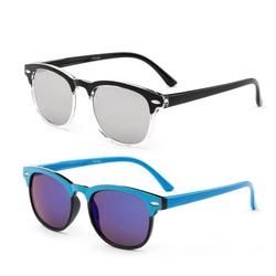 2 Pairs Newbee Fashion-Kyra Kids Two Tone Vintage Style Sunglasses Flash Mirror Lens Girls Boys Sunglasses UV Protection
